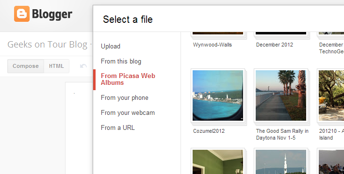 how to add photos in picasa web album