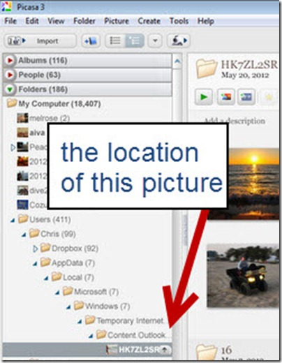 Using Tree View, you can see exactly where the picture is located on your computer.