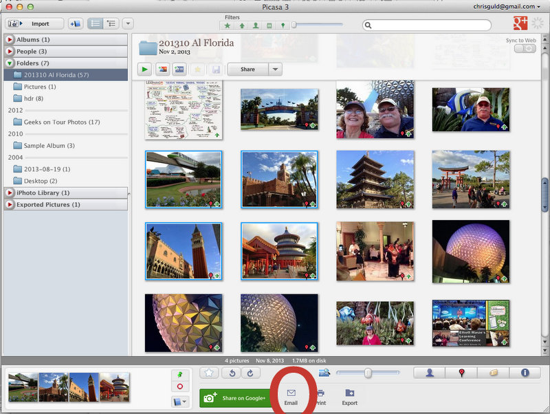 Picasa's Email button
