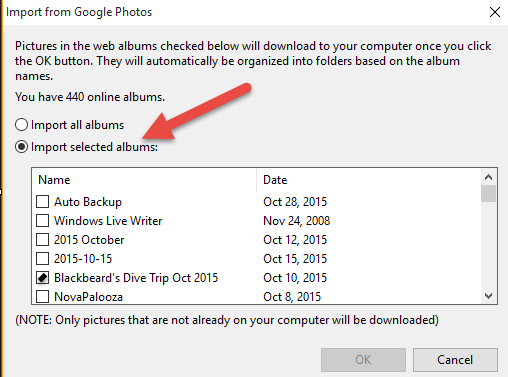 picasa photos not showing in gallery